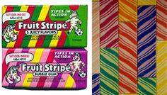 Fruit Stripe Gum.  remember the taste of this?  That was a fast memory because it lost its flavor in about 20 seconds.  Loved it anyway!
