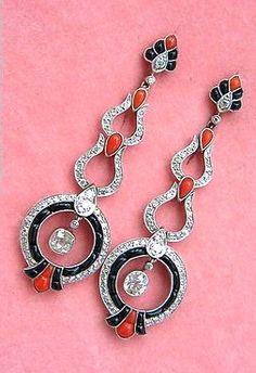 Estate Art Deco 1 90ctw Diamond Coral Black Onyx Long Dangle Earrings