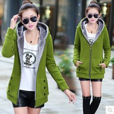 2015 Korean Style Autumn Winter Women Coat Warm Thick Fleece Jacket Outerwear Hoodies Sweatshirts Cardigan Female 7 Color
