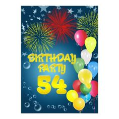 54th Birthday party Invitation with balloons