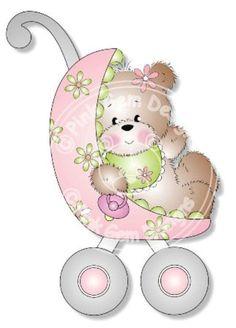 Digital (Digi) Cute Baby Bear Stamp 'Girl Bear Buggy' . Makes Cute  Cards.