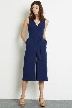 All Sale | Blue V-NECK CULOTTE JUMPSUIT | Warehouse
