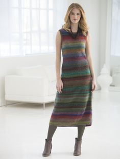 The great thing about color-changing yarns is they do all the work for you - as seen in this knit striped dress made with Amazing®.
