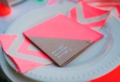 Neon Wedding Menus Kelly Stonelake Wedding Stationery Inspiration: Neon via OSBP