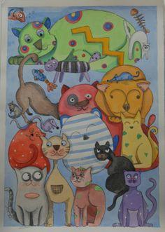 I fantagatti tavola illustrata ad acquarello di LabLiu su Etsy, €30.00