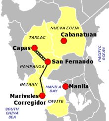 The Bataan Death March (1942) was the forcible transfer, by the Imperial Japanese Army, of 60,000 Filipino and 15,000 American prisoners of war after the three-month Battle of Bataan in the Philippines during World War II. All told, approximately 2,500–10,000 Filipino and 300–650 American prisoners of war died before they could reach Camp O'Donnell.