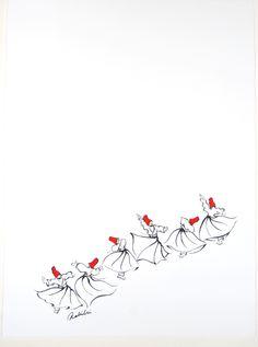 "Saatchi Online Artist: Zuzu Sahillioglu; Pen and Ink, 2011, Drawing ""Whirling Dervishes"""