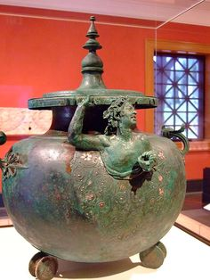 Lidded Cauldron (Lebes) with a Satyr Greek made in the eastern Mediterranean 50-1 BCE Bronze and Silver (1)