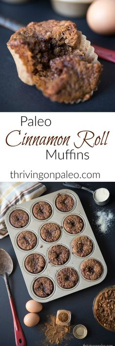 Gluten-free and Paleo Cinnamon Roll Muffins recipe - these muffins with an ooey . - Gluten-free and Paleo Cinnamon Roll Muffins recipe – these muffins with an ooey gooey center will - Paleo Dessert, Paleo Sweets, Paleo Breakfast, Breakfast Recipes, Breakfast Muffins, Sweet Breakfast, Breakfast Dessert, Breakfast Casserole, Breakfast Ideas