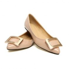 $14.08 Casual Shining Metal Embellished Patent Leather Flat Shoes For Women