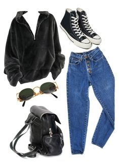 """monday mood"" by redapplecigarettes ❤ liked on Polyvore featuring PèPè, Converse and Jean-Paul Gaultier"