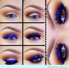 Pop up your eye game with a blue eye shadow - http://watchoutladies.net/18-brown-eyed-make-up-tutorials-to-try-now/