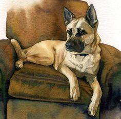 Custom Watercolor Pet Portrait by Painterly Pet Portrait,