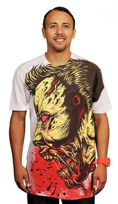 Zombie tee for the ultimate zombie fan. A graphic T-shirt not for the faint of heart. Wear this tee to scare your enemies and thrill your friends. A perfect gore tee for horror fans everywhere. Amazing detailed illustration and bold colors make this one stand out from the crowd.