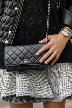 Chanel Black Quilted Lambskin Leather Classic Wallet On Chain WOC Bag .  This is an authentic 69c686617c572