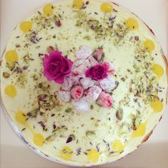 turkish lemony almond cake with rose water icing, pistachios, lemon curd + lavender petals