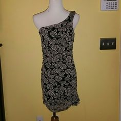 Fabulous Dress! Fabulous dress by Monaco.  One shoulder.  Mesh material.  Completely lined.  Ruching.  Sz Lg.  Great used condition.  No rips, stains, or tears.  From smoke free home. Monaco Dresses