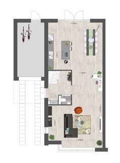 Indeling van een tweekapper #vanwanrooij #nieuwbouw #inspiratie Small House Plans, House Floor Plans, Home Design Plans, Architecture Plan, Luxury Interior Design, Modern House Design, Home Deco, Home And Living, Future House