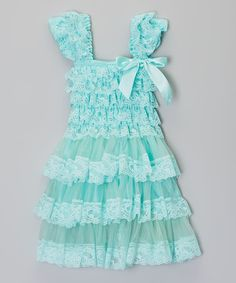 Another great find on #zulily! Teal Ruffle Lace Dress - Infant, Toddler & Girls by Royal Gem #zulilyfinds
