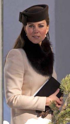 Kate Middleton wearing Sylvia Fletcher For Lock & Co. Betty Boop Hat and Maxmara Studio Dress.