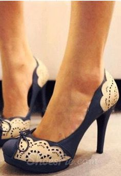 Blue Coppy Leather Flower Print High Heel Shoes