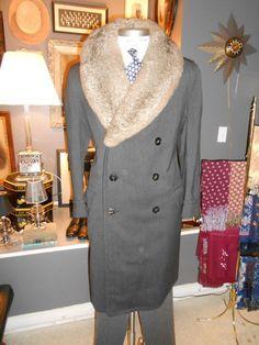 PEEK & CLOPPENBURG vintage men's coat Australian possum fur collar belt back grey wool fur lined Vintage Coat, Vintage Men, 1930s Fashion, Mens Fashion, Classic Fashion, Man's Overcoat, Spencer, Dapper Day, Barneys New York