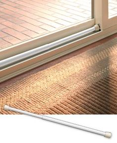 "Sliding Door Security Bar - Instantly add security to a sliding door. You'll have peace of mind knowing this bar is ""on duty"" guarding your home from intruders whether you're asleep or away on vacation. Window Security, Diy Home Security, Home Security Systems, Security Doors, Security Products, Security Tips, Sliding Windows, Sliding Doors, Future House"