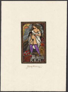 Ex eroticis   Erotisches Exlibris von JOSEF HODEK (Pilsen) 1922   Holzschnitt…