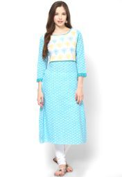 Sangria Blue And White Printed Long Kurta With Blue And Yellow Printed Yoke Online Shopping Store