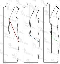 Modelowanie sukienki z wielką kieszenią. Patternmaking - dress with french dart.