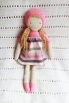 eco friendly pink wool doll - poupée de laine récupéré. $58.00, via Etsy.