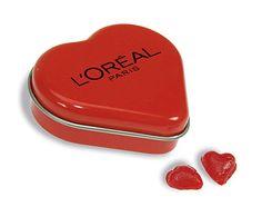 Lata de caramelos personalziada en forma de corazón