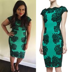 Mindy Kaling wears a contrast lace panel dress to the Fox Summer TCA All Star Party, July 20th 2014. /// Tadashi Shoji Lace-Outlined Dress - $29...