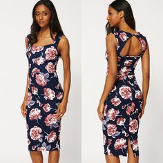 £22. Navy Floral Midi Bodycon Open Back Dress. Sizes 8-16 available.  Key features: - Floral Print - Sleeveless - Open Back - Figure-Hugging Midi Scuba Dress. #eyebrows #beautiful #fashion #beauty #foundation #nails #makeup #hair #mac #goals #want #facebook #outfitoftheday #chanel #pink #uk #lipstick #kyliejenner #girl #dress #shoes #benefit #cosmetics #fabsquad #outfit #ootd #lookbook #Natsboutique #onlineshop