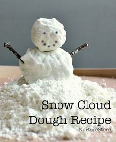 easy snow cloud dough recipe - great for winter sensory play and snowmen activities (NOTE: use vegetable oil, omit glitter if tasting is a potential)