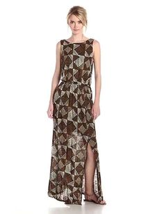 LUCKY BRAND Long Black Brown Batik Dot Diamonds Casual Maxi Dress Size XL #LuckyBrand #StretchBodyconMaxiBlouson #Casual
