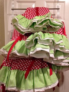46 Red Polka Dots And Lime Green Stripe Whimsical Christmas Tree Skirt With Ruffle On