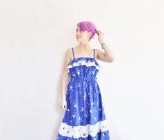 cobalt BLUE floral sundress . wide ruffle folk summer by DOTTO