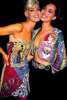 Linda Evangelista and Christy Turlington backstage for Gianni  Versace Runway Show, 1991