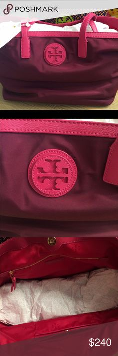 Nwt Tory Burch Nylon E/W Tote Nwt Tory Burch Nylon East West Tote. Leather trim and fully lined. Cabernet. Ships next day! Tory Burch Bags Totes