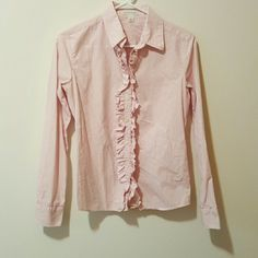 Red and White Plaid Ruffle Collar Shirt Perfect condition. Banana Republic Tops Button Down Shirts