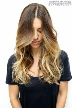 honey highlights with an almond brown base #ombre #balyage