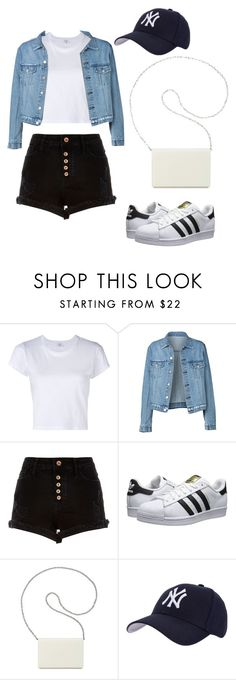 """white t-shirt"" by emuluu ❤ liked on Polyvore featuring RE/DONE, River Island, adidas Originals, Nine West, Hartford, whitetshirt and WardrobeStaples"