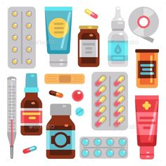 Buy Medicine Pharmacy Drugs by MicrovOne on GraphicRiver. Medicine pharmacy drugs, pills, medicament bottles and medical equipment vector flat icons.