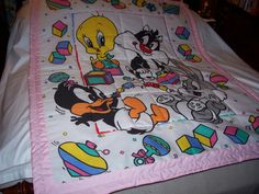 Baby 1990's Looney Tunes Girl Cotton Baby Quilt-NEWLY MADE 2015 by quilty61 on Etsy