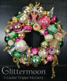 Angels Watch Wreath (©Glittermoon Productions LLC - wreath made to honor her mother) Vintage Pink Christmas, Shabby Chic Christmas, Vintage Christmas Ornaments, Christmas Decorations, Vintage Decorations, Silver Christmas, Victorian Christmas, Christmas Past, Christmas Holidays