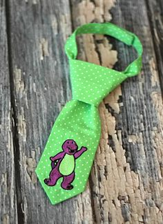 Little Guy Tie - Barney Purple Dinosaur Toddler Tie - Pre-Tied with Adjustable Velcro Closure