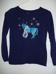 Circo Girl's LS T-Shirt Navy Blue Multi Color Snowflakes Unicorn Size L (10-12)