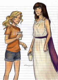 Annabeth and Reyna. Though I doubt Reyna is that much taller than her