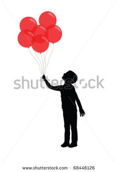 Silhouette Of A Boy Holding Red Balloons Stock Vector Illustration ...